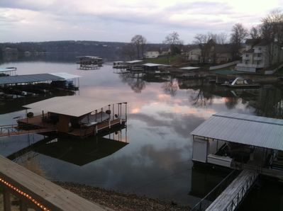 Beautiful View! From main level deck, our dock is lower right.