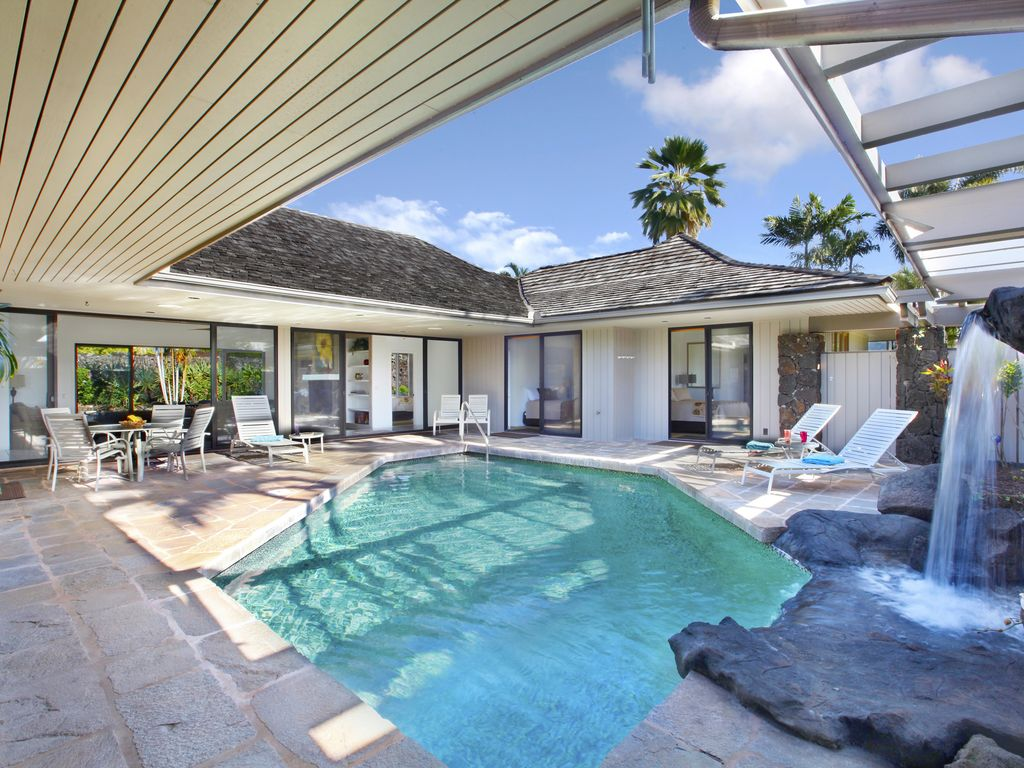poipu waterfall house private secluded swimming pool central ac throughout