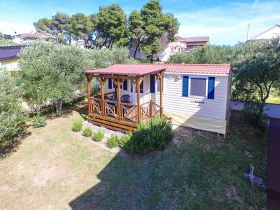 Photo for Mobilehome with air conditioning, terrace and sea view