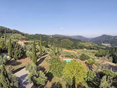 Photo for Beautiful private villa with private pool, WIFI, TV, patio, panoramic view, parking, close to Lucca