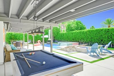 Backyard - Play a round of billiards at the outdoor pool table.