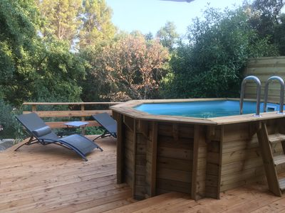 Photo for Cocooning cottage with Balnéo 2 places, private pool and wooden terrace