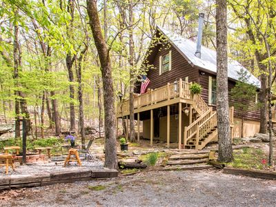 Photo for Hugged by Historic Boulders! HOT TUB! 4 Beautiful Acres Close to Mentone & Falls