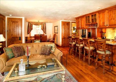 Living room, dining area, bar and kitchen