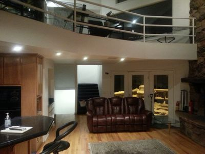 Living room, level 2, kitchen to left, office above