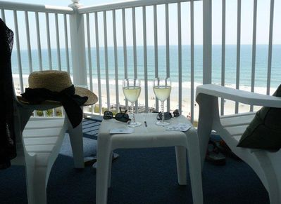 Your balcony awaits!  Total relaxation at our SeaWatch oceanfront condo!