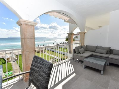 Photo for Beautiful, beach-front apartment Sirra Sunrise with sea views, for 6 people in Playa de Alcudia in Majorca.