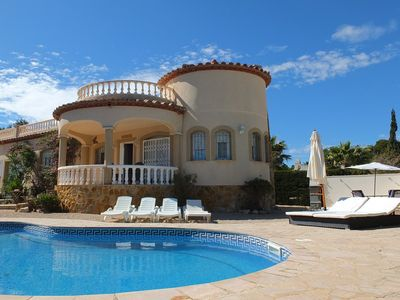 Photo for Well furbished villa, with private pool in pretty gardens, air-con & FREE WIFI