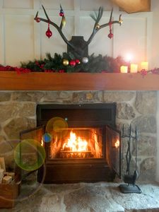 Relax by the crackling fire