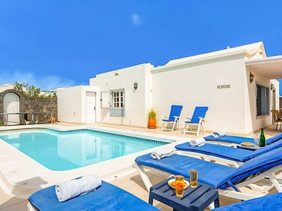 Photo for Villa Zoe: Large Heated Private Pool, Walk to Beach, A/C, WiFi, Car Not Required