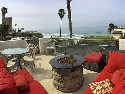 Roof top deck with fire-pit and 180 degree ocean view.