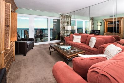 Gulf views from the spacious living area