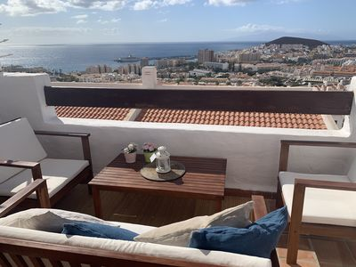 Photo for Incredible studio with views of all Los Cristianos. Climatized pool. Quiet zone