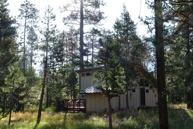View of cabin from road 2017