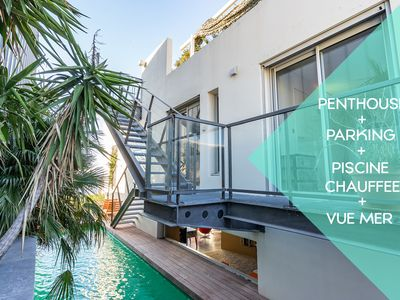 Photo for Le Penthouse : vue mer, piscine chauffée, parking
