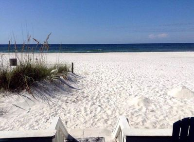 View of the Gulf of Mexico and white sandy beach from your beach side deck