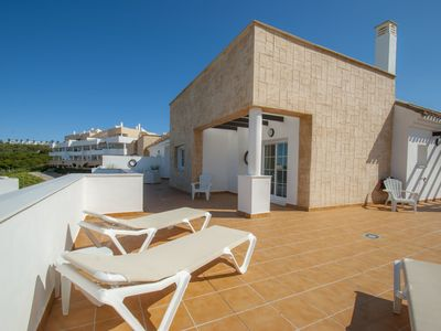 Photo for A modern penthouse (110 m2) with sea and pool view, 3 bedrooms and 2 baths