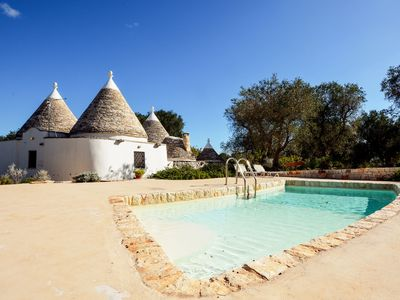 Photo for Stunning private villa with WIFI, private pool, TV, patio, panoramic view, parking, close to Ostuni