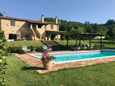 Photo for Beautifully Restored Stone Farmhouse With Mountain Views And Pool