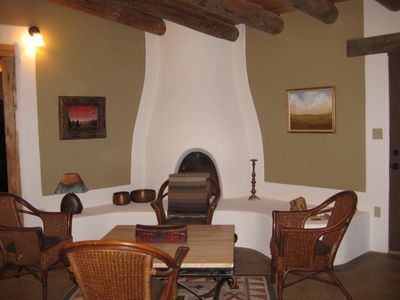 Kiva fireplace and the conversation area