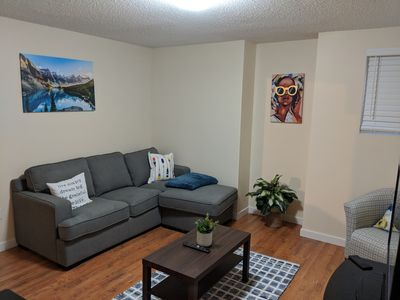 Photo for Nice 2 B/R basement suite 10 mins from Calgary Airport