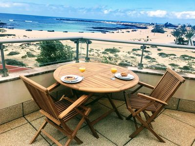 Photo for Stunning views & location. Spacious 1 bed apartment directly on beach El Cotillo