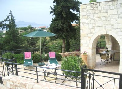Patio with views to Aspro Village and Souda Bay