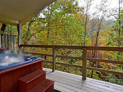Photo for FREE ATTRACTION TICKETS, Secluded Romantic Cabin, Views Hot Tub & Heart Jacuzzi