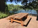 Seats 12 people!  8 Foot Hand Built Picnic Table Overlooking the River!
