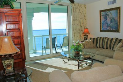 The living room with a beautiful waterview