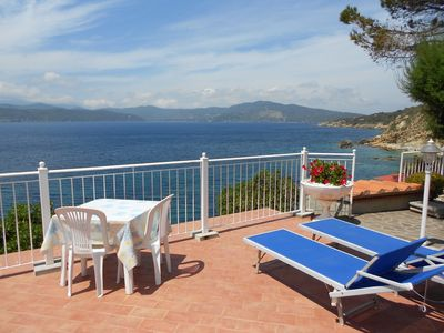 Photo for Fantastic apartment right on the beach Peducelli, Elba Island