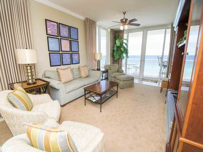 Photo for Beautiful Three Bedroom Gulf Front Condo! Private Balcony and Master Bedroom overlooking water.