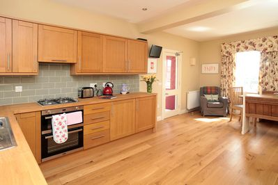 The large open plan kitchen and dining area