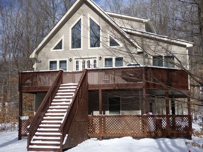 Photo for Spectacular Chalet!  2 Master BR's w/Baths, hot tub, fireplace, fire pit