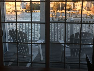 dining room view of Harris Harbor