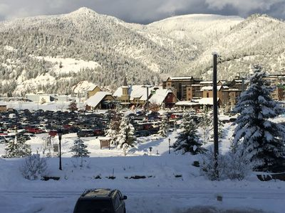 Condo overlooks Silver Mtn. resort and surrounding mountains.