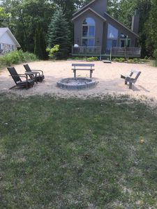 Beach Firepit with benches & Adirondek set. Additional fold up seating Available