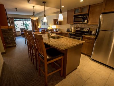 Photo for Elegant Mountain Condo + Den, Private Balcony, Steps to Hiking Trails!