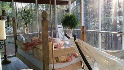 Great Porch for Relaxing, can see the kids swimming Lake