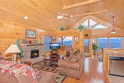100 Mile View - Living Room with Fireplace