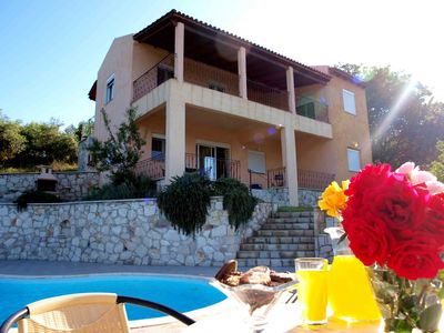Photo for Peaceful and private family villa with pool, panoramic views of sea and mountain