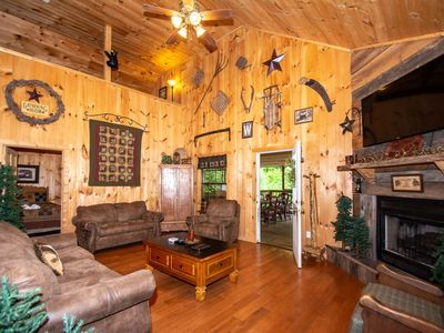 Photo for Woods Mtn Cabin!  Air Hockey, Hot Tub, Handicap Accessible w/lift, 10% off SUMMER DEAL 5/27-7/1