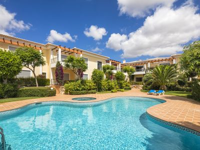 Photo for Pool view! 750m to beach, ground floor with balcony & terrace with small garden,