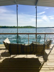 Covered sitting area on dock