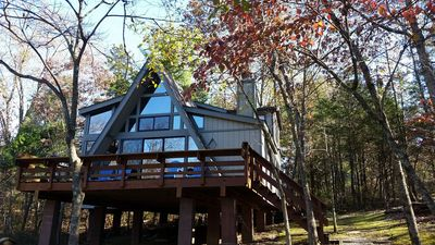 View of the front of the chalet in the fall.