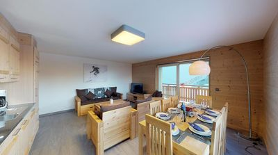 Photo for 3-bedroom-apartment, 4*+ for 6-8 people located directly on the ski slopes. Modern living room with