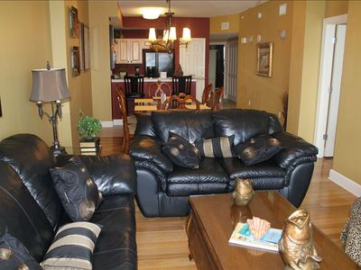 There's plenty of seating in this large, comfortable living room.