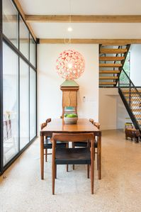Mid-century modern furniture throughout the home gives you lots to admire.