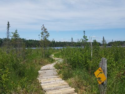 Whimsical boardwalk to our canoe and kayak launch