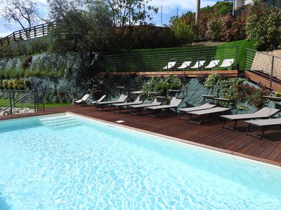 Photo for Apartment balcony view, heated swimming pool, air conditioning,parking area
